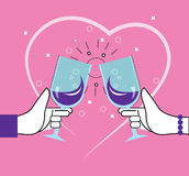 Two people toasting with wine glasses. Stock Photo