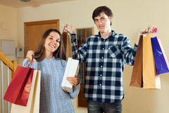 Two people together with bags after shopping Royalty Free Stock Images