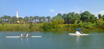 Kayak training. Two people training for a kayak competition  in Tel Aviv, Israel Royalty Free Stock Images