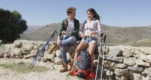 Two people trekking stock video footage
