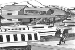 Two People trying to Catch Trains. Grayscale illustration of a man and a woman on opposite platforms chasing after trains. Two trains traveling past the stations Stock Photography
