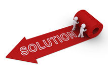 Two people unroll carpet of solution. Two 3d persons unroll arrow carpet with solution word on it Stock Photo