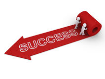 Two people unroll carpet of success Stock Image
