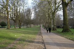 Two people walking in Hyde Park, London,UK. Two people waling along one of the many pathways in Hyde Park, London,UK Stock Photography