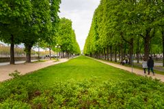 A small park along the Seine River in Paris, France stock image