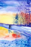 Two people walk in the Park in the spring on the snow leaving traces.Watercolor illustration vector illustration
