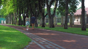 Two people walk and talk outdoors. Couple walking in the park drinking coffee summer season. Rear back view. Woman wearing in elegant dress and casual shoes man stock video