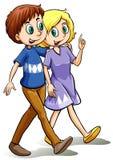 Two people walking Stock Photo