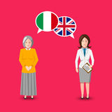 Two people with white speech bubbles with Great britain and Italy flags. Language study concept illustration. Two people with white speech bubbles with Great royalty free illustration