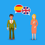 Two people with white speech bubbles with Great britain and Spain flags. Language study concept illustration. Two people with white speech bubbles with Great Stock Photos