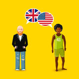 Two people with white speech bubbles with Great britain and USA flags. Language study concept illustration. Two people with white speech bubbles with Great Royalty Free Stock Photo