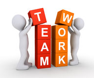 Two people work as team. Two 3d people are forming the word TEAMWORK using cubes Stock Image