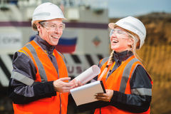 Two people working. Man and women working in an open-pit Royalty Free Stock Photography
