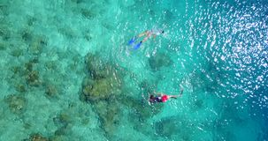 2 people young couple snorkeling over coral reef with drone aerial flying view in crystal clear aqua blue. Two 2 people young couple snorkeling over coral reef stock video footage