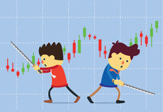 Two peoples battle with sword on stock chart background. Stock Image