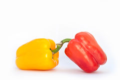 Two peppers on white background Stock Images