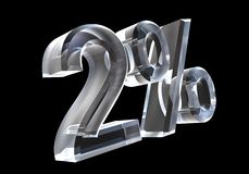 Two percent in glass (3D) Royalty Free Stock Photos