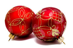 Two perfec red christmas balls isolated Stock Photos