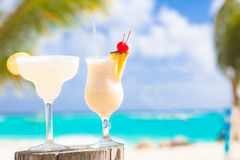 Two perfect cocktails pina colada and margarita Stock Images