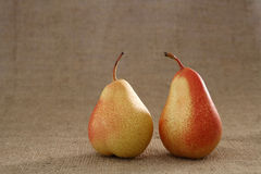 Two perfect red pears on hessian burlap background Royalty Free Stock Photography