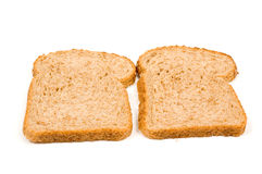 Two perfect slices of bread. Isolated on a white background stock images
