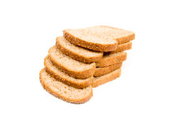 Two perfect slices of bread. Isolated on a white background royalty free stock image