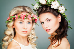 Two Perfect Women Fashion Model Royalty Free Stock Images