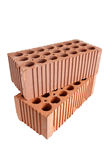Two perforated bricks (stacked) Royalty Free Stock Image