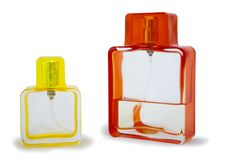 Two perfume bottle isolated Royalty Free Stock Photos