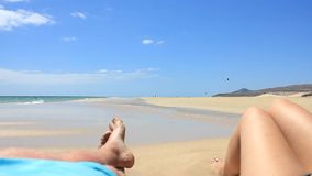 Two person on a beach on Fuerteventura - Spain - Canary Islands stock video
