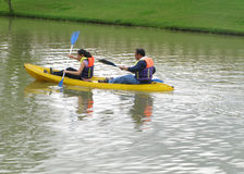 Two person in canoe Stock Photos