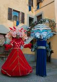 Two person with carnival costume. In the historic center of Castiglion Fibocchi, Tuscany, Italy Royalty Free Stock Image