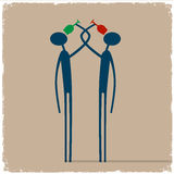 Two person drinking wine brotherhood. Conceptual vector eps10 Royalty Free Stock Images