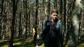 Man and woman walking at sunny day in forest. Two person: guy with girlfriend spending time in the autumn woodland. Hike style of vacation far away from the town stock video footage