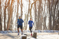 Two person jogging in nature. In the winter Stock Image