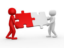 Two person matching puzzle pieces. 3d render illustration Royalty Free Stock Photography