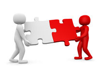 Two person matching puzzle pieces. 3d render illustration Stock Photo