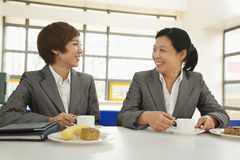 Two person meeting in company cafeteria Stock Photo