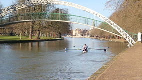 Two person scull boat in Bedford, United Kingdom. A scull boat with two rowers going under the suspension bridge on the river great ouse in Bedford, United stock video footage