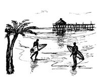 Two person with surfing boards. Near the beach stock illustration