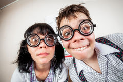 Two person wearing spectacles in an office at the doctor Royalty Free Stock Photos