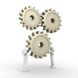 Two persons attach cogwheel. Two 3d people are connecting a cogwheel to engine Stock Photo