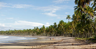 Two persons on the beach, vacation landscape Stock Photos