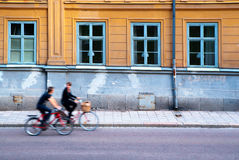 Two persons on bicycles Stock Photography