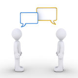 Two persons are communicating. Two 3d persons are talking with speech bubbles Royalty Free Stock Photography