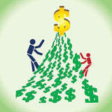 Two persons in competition to reach a big money. royalty free illustration