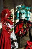 Two persons in costume at Carnival of Venice 2011 Royalty Free Stock Photo