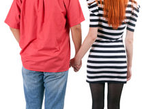 Two persons holding on hands Stock Images