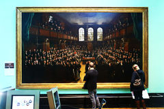 Two persons in National Portrait Gallery, London Stock Photo