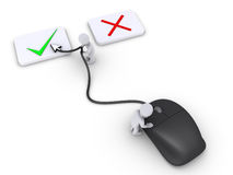 Two persons select right choice using mouse. Two 3d persons are using mouse to select the right choice Royalty Free Stock Image